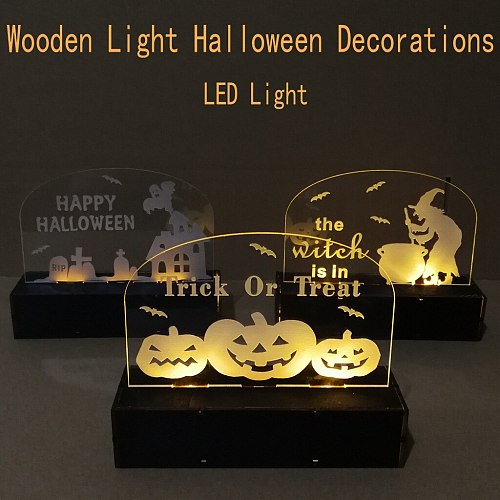 Wooden LED Halloween Decoration Laser Engraving Pumpkin Witch Boiling Poison Haunted House Elf Ornaments