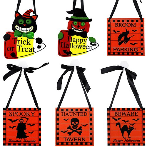 Halloween Wooden Hanging Ornament New Ghost Festival Candy Pumpkin Skull Spider Party Scene Decoration Thick or Treat