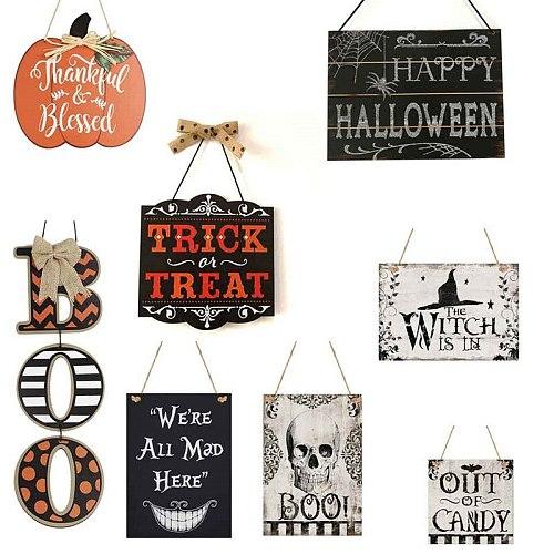 Halloween Hanging Signs Pumpkin Boo Wooden Board Plaque for Kids Toy Halloween Party Door House Wall Window Hanging Decoration
