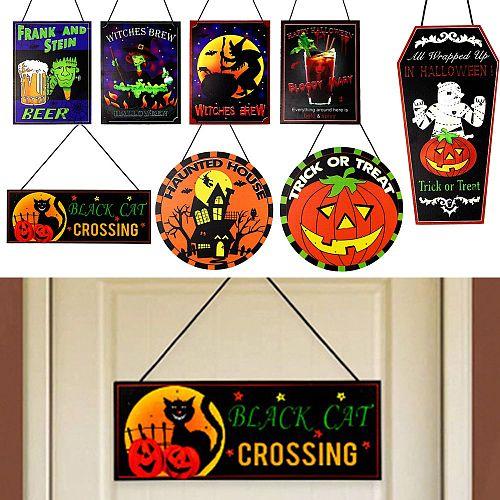 Front Door Fright Night Pumpkin Ghost Ornaments Welcome Door Sign Hanging Sign Halloween Wooden Plaque Trick or Treat
