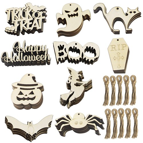 Wood Decoration Wooden Crafts Holiday Party Decoration Card Pendant Home Diy Ghost Festival Props Halloween Pumpkin Decorations