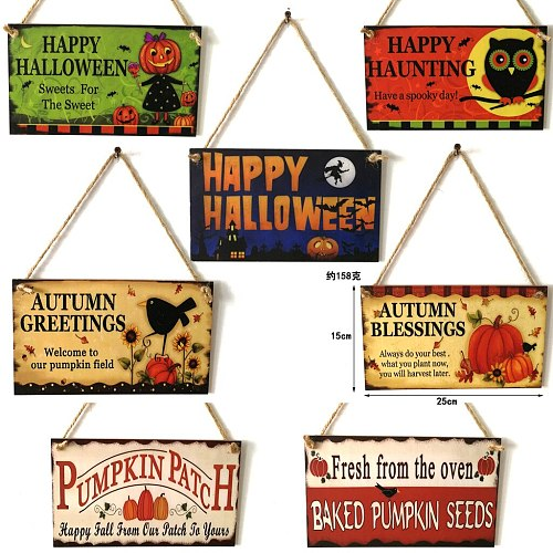Wooden Blanks Halloween Pumpkin Owl Witch Pattern Hanging Board Ghost Festival Indoor And Outdoor Decorative Crafts Listing
