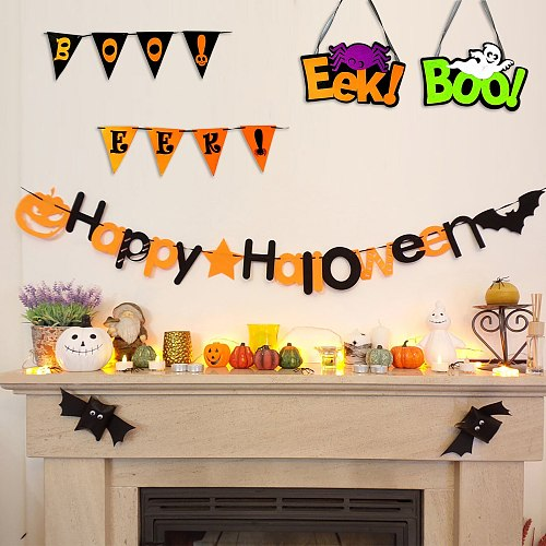 Halloween Party Cute Letter Garlands Pull Flag Party Diy Trick Or Treat Party Boo Happy Halloween Party Decor For Home 2021