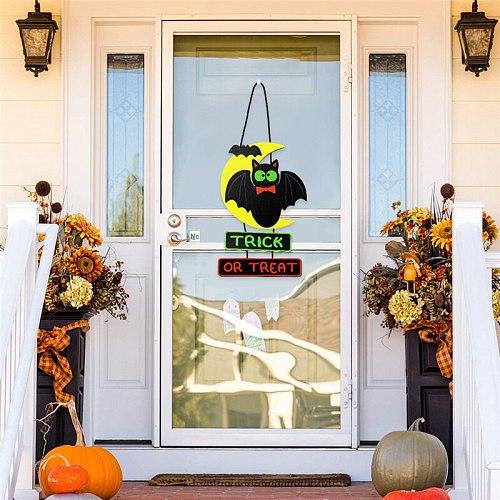 Halloween Wooden Hanging Ornament Rustic Door Sign Creative Wall Art Decoration for Home Living Room Bedroom P7Ding