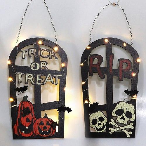 Halloween Tombstone Shape LED Lamp Hanging Door Simulation Pumpkin Skull Welcome Sign Mural Listing Pumpkin Skull Welcome Sign