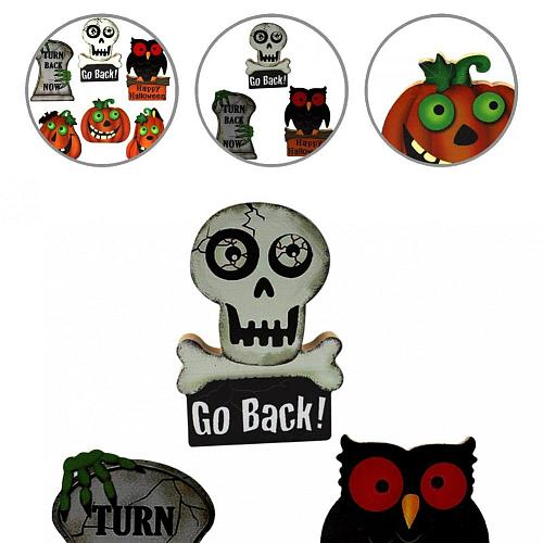 Convenient Colorful Lightweight Pumpkin Ghost Shape Table Wooden Ornament for Festival