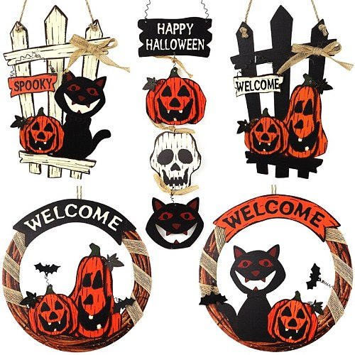 Front Door Decoration Round Wood Sign Wall Hanging Outdoor Porch Holiday Housewarming Gifts Fall Halloween Ornament