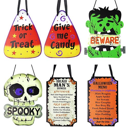 Creative Halloween Hanging Ornament Painted Rustic Crafts Wooden Party Decoration for Home Garden Courtyard Hot