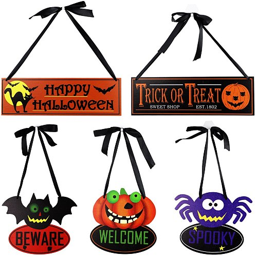 Halloween Wooden Hanging Ornament New Ghost Festival Pumpkin Skeleton Spider Party Scene Decoration Country Style