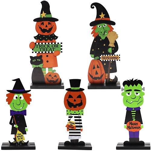 Halloween Wooden Ornaments Pumpkin Witch Home Table Decoration Wood Halloween Party Decoration Ornaments