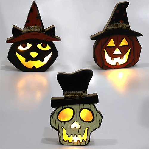 Halloween Wooden Pumpkin Skull Black Cat Ornaments with LED Light Halloween Festival Party Home Decoration Wood Lamp