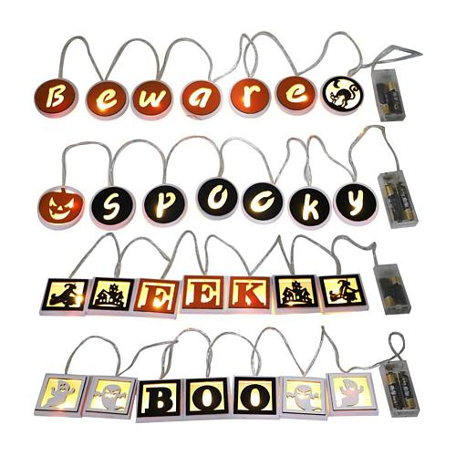Halloween Letter Lights Battery Operated 6.5 Feet Long Halloween Lights Decor For Outdoor Indoor Party Decoration