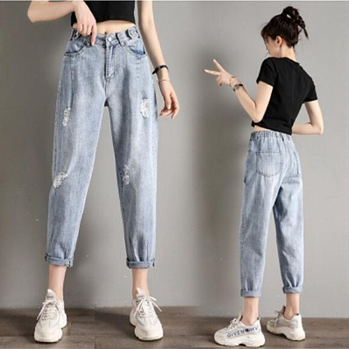 Woman Jeans High Waist Ripped Jeans 2021 Spring Summer For Clothes Wide Leg Denim Clothing Blue Streetwear Fashion Vintage Pants