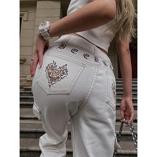 Jeans Women New Summer 2021 Korean High Waist Street Embroidery Street Wide Leg Pants Trend jeans for women  high waisted jeans