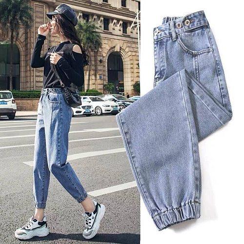 Woman Jeans Harem Denim Pants Casual Loose Mid Waist Wide Leg Ankle Length Vintage Spring Autumn Cotton Pants