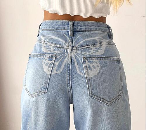 2021 new high waist butterfly print jeans women cargo pants women  high waisted jeans  pants  straight leg jeans  vintage jeans
