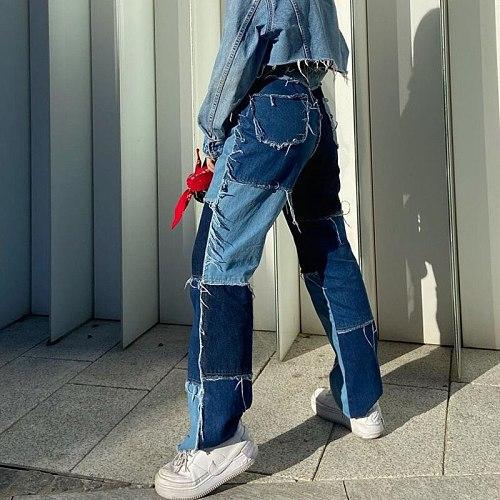 Streetwear Women's Jeans Boyfriend High Waist Vintage Patchwork Straight Flare Wide Leg Pants Mom Denim Jeans Femme Trousers