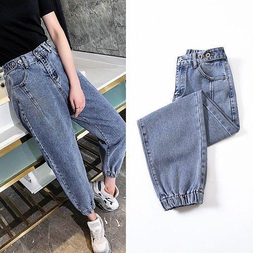 Woman Jeans Casual Loose Harem Denim Pants Mid Waist Wide Leg Ankle Length Vintage Spring Autumn Cotton Pants