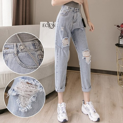 Woman Jeans Clothes High Waisted Ripped 2021 Summer Streetwear Baggy Wide Leg Vintage Fashion Blue Harajuku Straight Pants