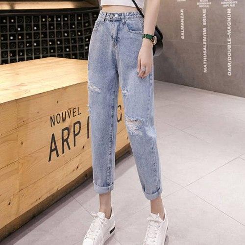 Woman Jeans Ripped High Waist Clothes Wide Leg Denim Clothing Streetwear Vintage Quality 2021 Fashion Harajuku Straight Pants