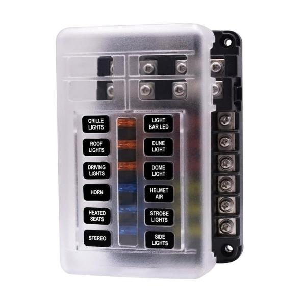 Popsail Blade Fuse Block with Cover - 12&6 circuits with Negative Bus
