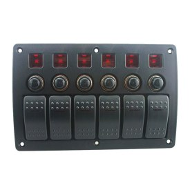 Popsail 6 Gang LED Rocker Switch Panel Circuit Breakers DC 12/24V For Car Boat Marine Steamship Yacht Motorhomes Bus RV Camper Truck Etc