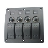 Popsail 4 Gang LED Rocker Switch Panel Circuit Breakers DC 12/24V For Car Boat Marine Steamship Yacht Motorhomes Bus RV Camper Truck Etc