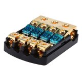 Popsail 60A Car Audio Fuse Holder DC Distribution Block 0/2/4 AWG In 4/6/8 AWG Out For Auto Truck Trailer RV SUV Yacht Boat