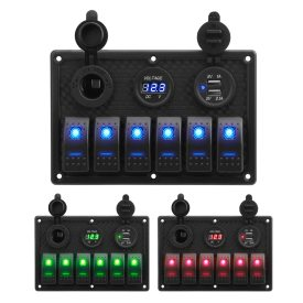 2-Year Warranty Popsail 6 gang camper van switch panel with voltage meter