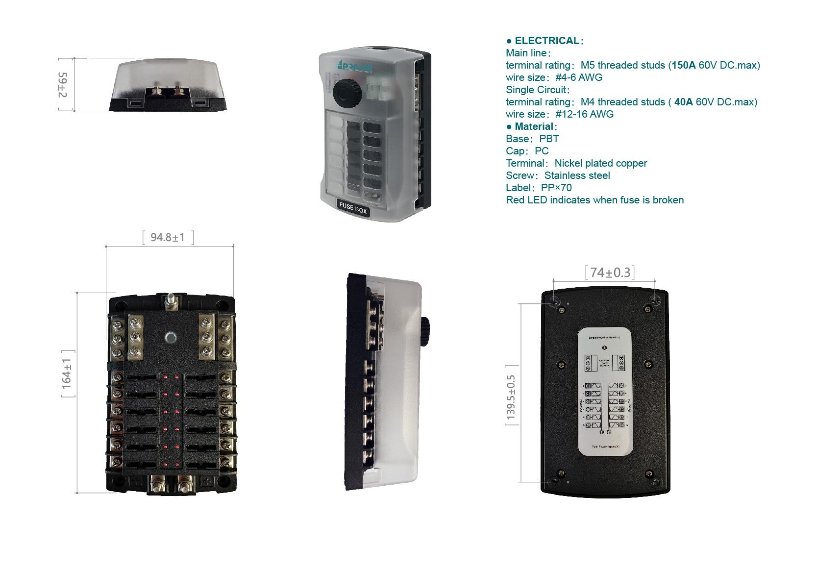 fuse holder box 150A