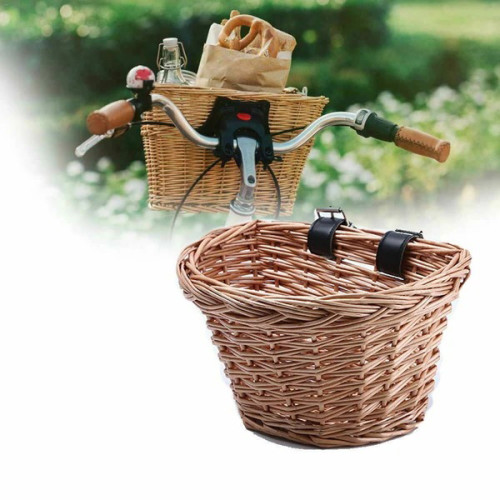 Bike Basket Wicker Woven Bicycle Front Basket Handlebar Retro Cycle Storage Case