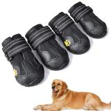 4PCS Dog Boots Waterproof Dog Outdoor Shoes With Anti-Slip Sole For Medium To Large Dogs
