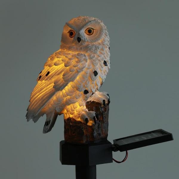 Solar Owl Lawn Light