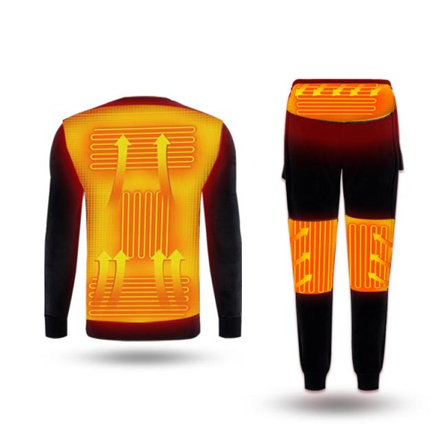 Winter Heated Underwear Fleece Lined Heating Thermal Underwear Set USB Electric Heated