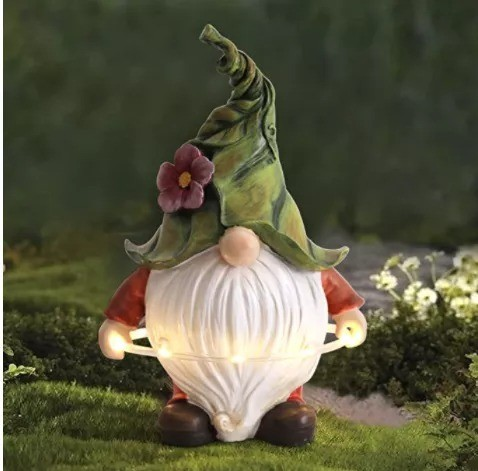 Garden Gnome Statue With Solar LED Lights For Outdoor Decoration