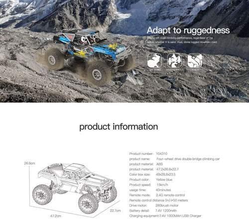 RC Racing Car Waterproof Off-Road Rock Electric Crawler Wltoys 1/10 2.4GHz 4WD