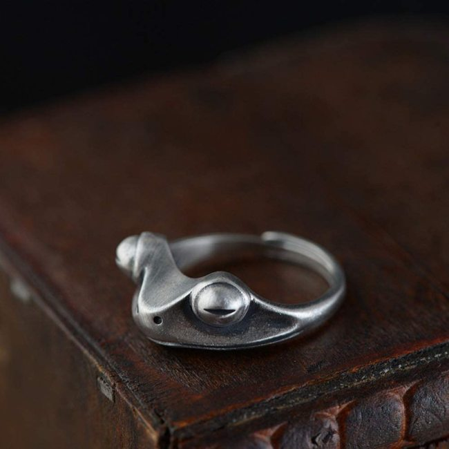 Silver Frog Ring,Adjustable Ring