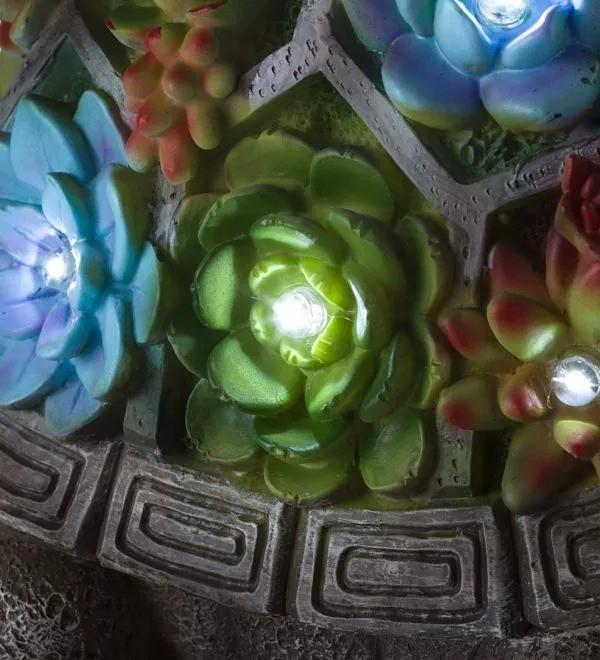 Solar Succulent Turtle Garden Statue - Turtle