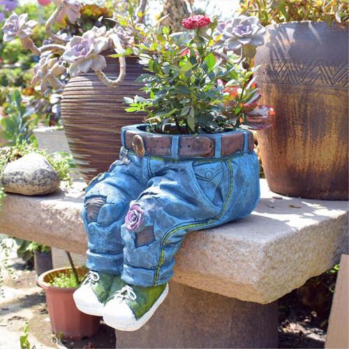 Denim Clothes Pants Resin Flower Pot