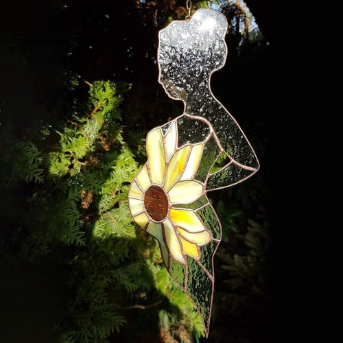 Stained glass suncatcher Pregnant Woman With A Sunflower As Belly