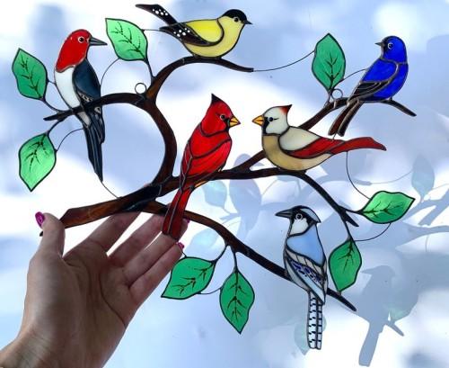 Suncatcher stained glass birds modern home decor
