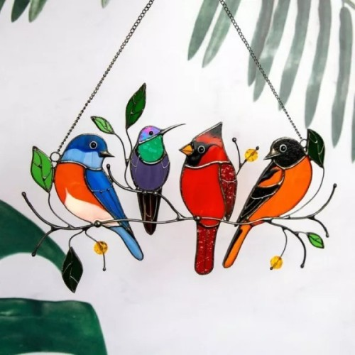Spring Birds Variety Stained Glass Window Panel