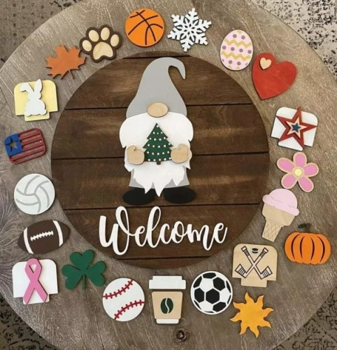 Mother's Day Promotion | Gnome Door Hanger Gnome Welcome Wign - Interchangeable All Weasons Wign
