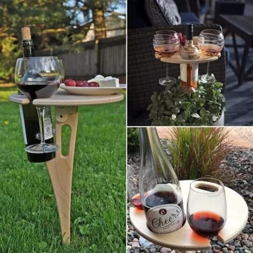OUTDOOR PORTABLE WINE TABLE