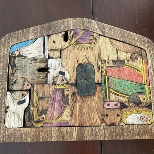 Nativity Puzzle with Wood Burned Design