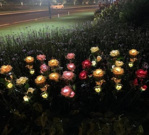 Spring Artificial Rose Garden Stake Solar Lights
