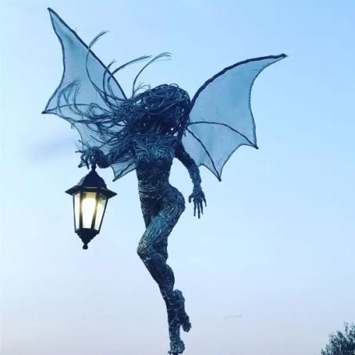 Fairy with a lantern- Garden solar light stakes- Home decor