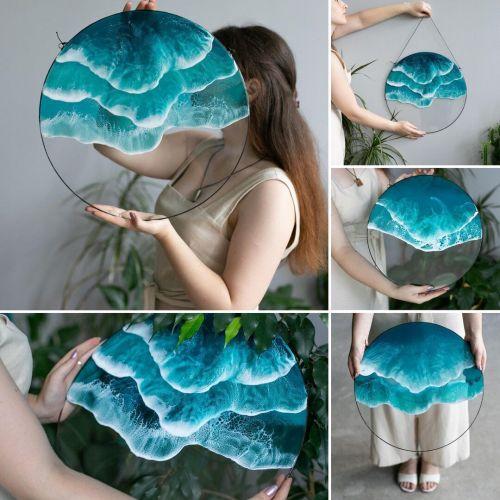Ocean resin art, double wave wall hanging