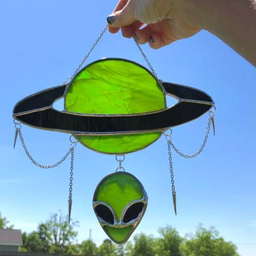 Father's Day Promotion-Planet and Alien Head Stained Glass Suncatcher