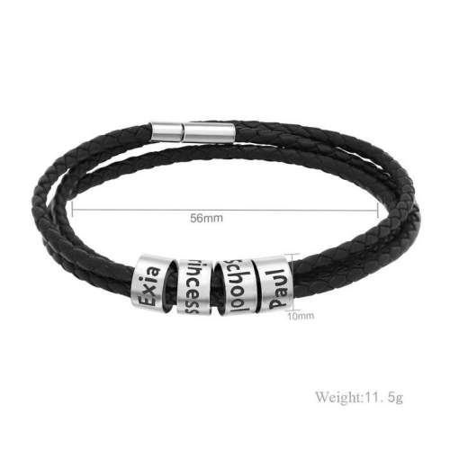 Father's Day Gift Men's Leather Bracelet with Small Custom Beads